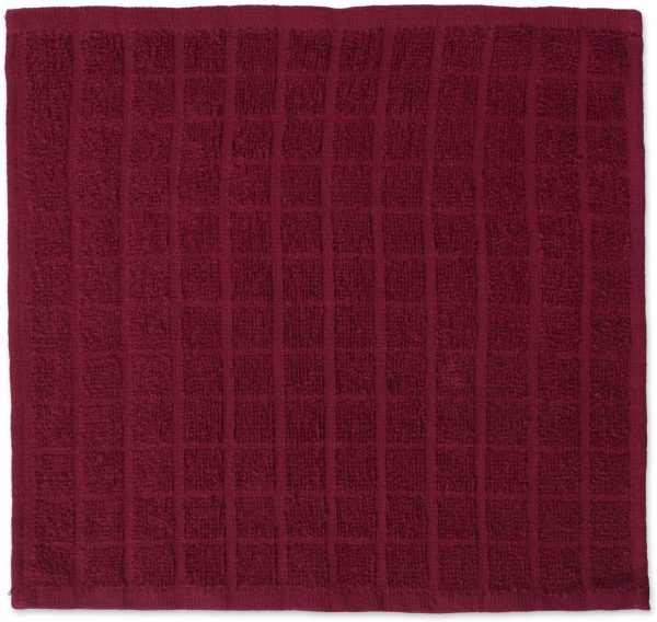 Windowpane Dish Cloths Machine Washable and Ultra Absorbent Kitchen Bar Towels-Solid Wine