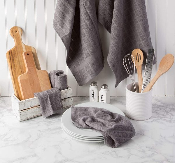 Windowpane Dish Cloths and Ultra Absorbent Kitchen Bar Towels - Grey