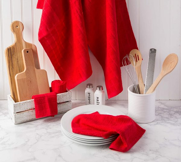 Windowpane Dish Cloths and Ultra Absorbent Kitchen Bar Towels - Red