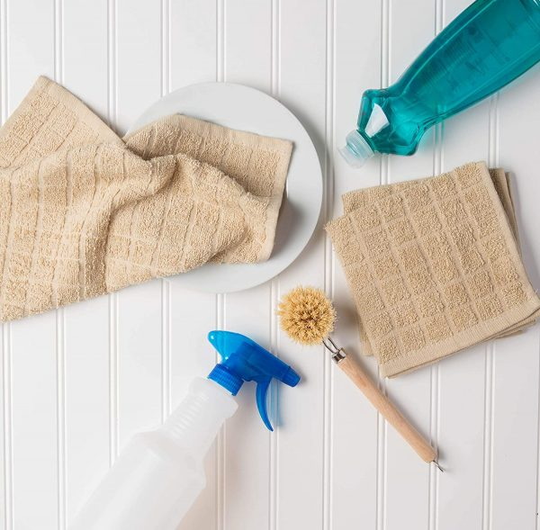 Windowpane Dish Cloths and Ultra Absorbent Kitchen Bar Towels - Pebble