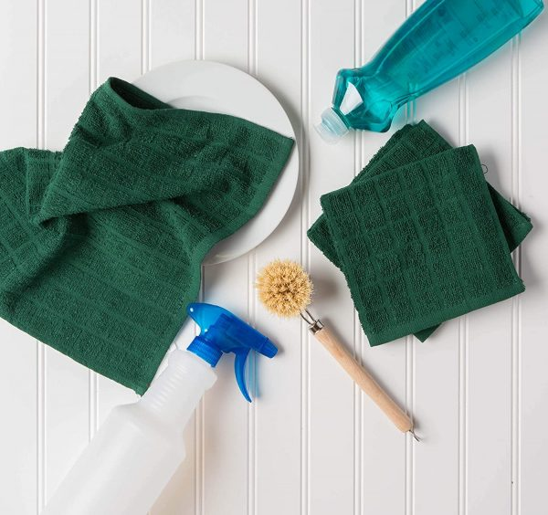 Windowpane Dish Cloths and Ultra Absorbent Kitchen Bar Towels - Dark Green