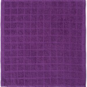 Windowpane Dish Cloths and Ultra Absorbent Kitchen Bar Towels - Eggplant